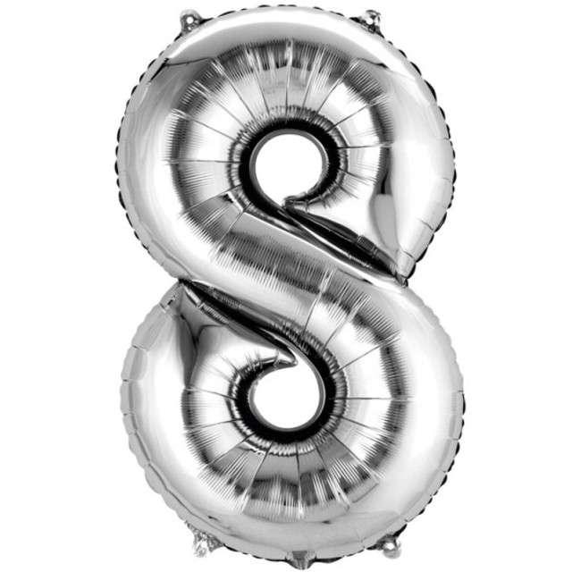 """Balon foliowy cyfra 8, 34"""", AMSCAN, srebrna"""