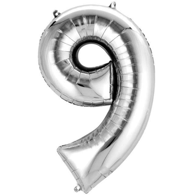 """Balon foliowy cyfra 9, 34"""", AMSCAN, srebrna"""