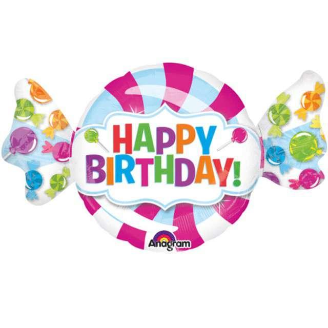 """Balon foliowy """"Happy Birthday Cukierek"""", AMSCAN, 40"""" SHP"""