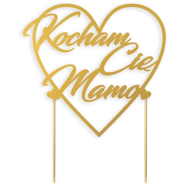 """Dekoracja na tort """"Kocham Cię Mamo"""", złota, 14 cm"""
