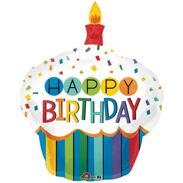 "Balon foliowy ""Cupcake Happy Birthday"", AMSCAN, 36"" SHP"