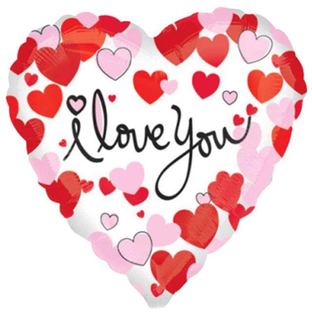 """Balon foliowy """"I LOVE YOU - serduszka"""", AMSCAN, 17"""" HRT"""