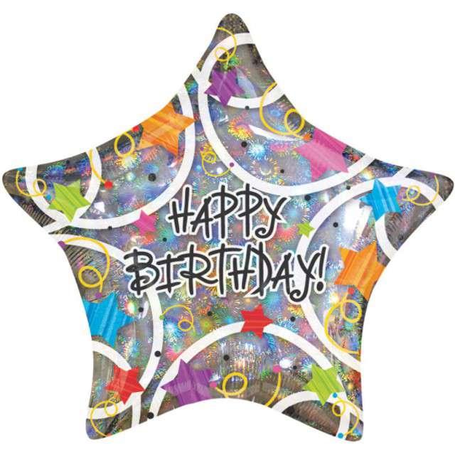 """Balon foliowy """"Happy Birthday"""", AMSCAN, 19"""" STR"""