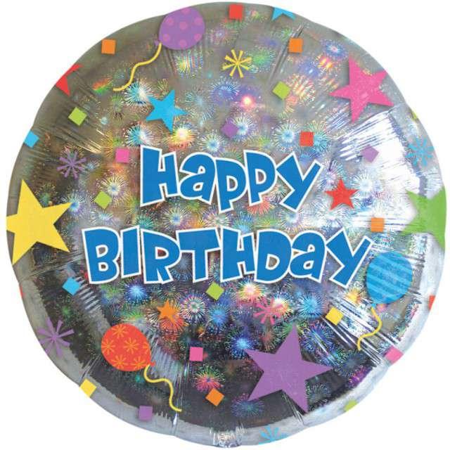 """Balon foliowy """"Happy Birthday i gwiazdy"""", AMSCAN, 18"""", RND"""
