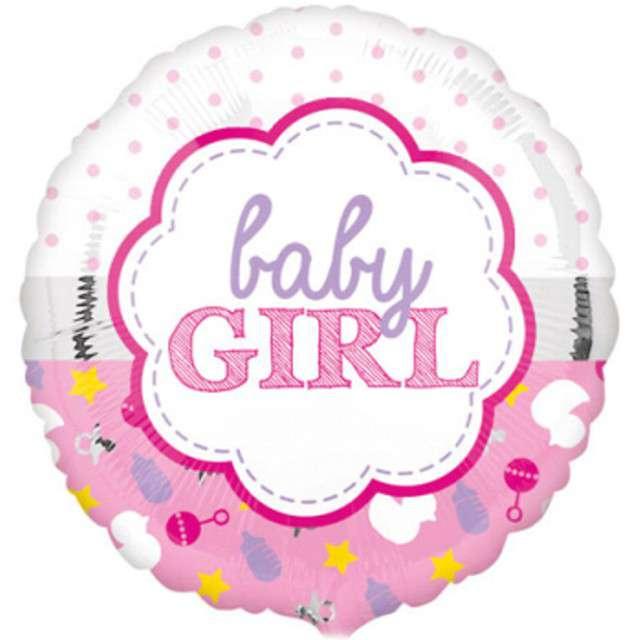 """Balon foliowy """"Baby Girl"""", różowy, AMSCAN, 17"""" RND"""