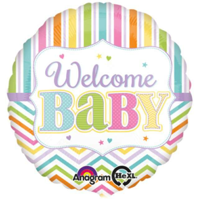 "Balon foliowy ""Welcome Baby"", AMSCAN, 17"" RND"