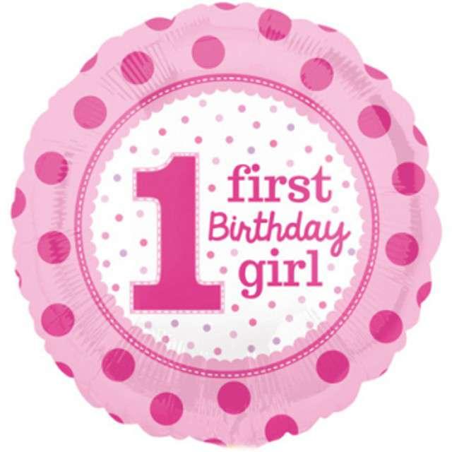 """Balon foliowy """"1 Urodziny Dziewczynki"""", różowy, AMSCAN, 17"""" RND"""