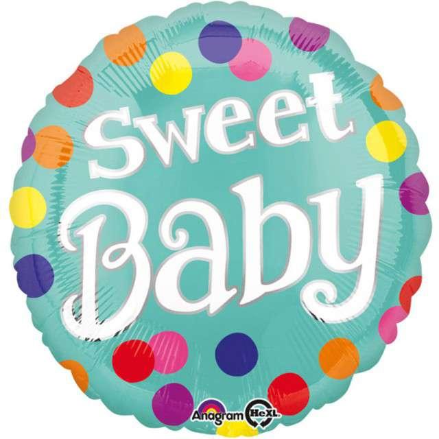 """Balon foliowy """"Wstążka - Sweet Baby"""", AMSCAN, 17"""" RND"""