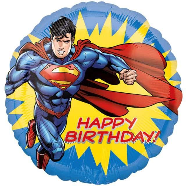 """Balon foliowy """"Superman - Happy Birthday"""", AMSCAN, 17"""" RND"""