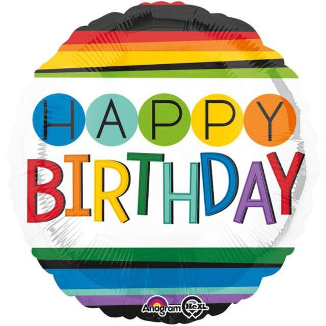 """Balon foliowy """"Happy Birthday Rainbow"""", AMSCAN, 17"""" RND"""