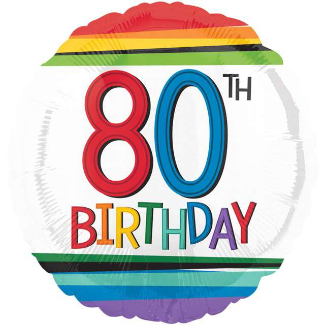 """Balon foliowy """"80 Urodziny - 80th Birthday"""", AMSCAN, 17"""" RND"""