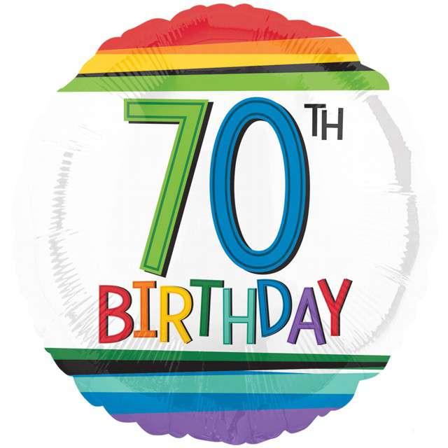"""Balon foliowy """"70 Urodziny - 70th Birthday"""", AMSCAN, 17"""" RND"""
