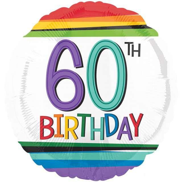 """Balon foliowy """"60 Urodziny - 60th Birthday"""", AMSCAN, 17"""" RND"""