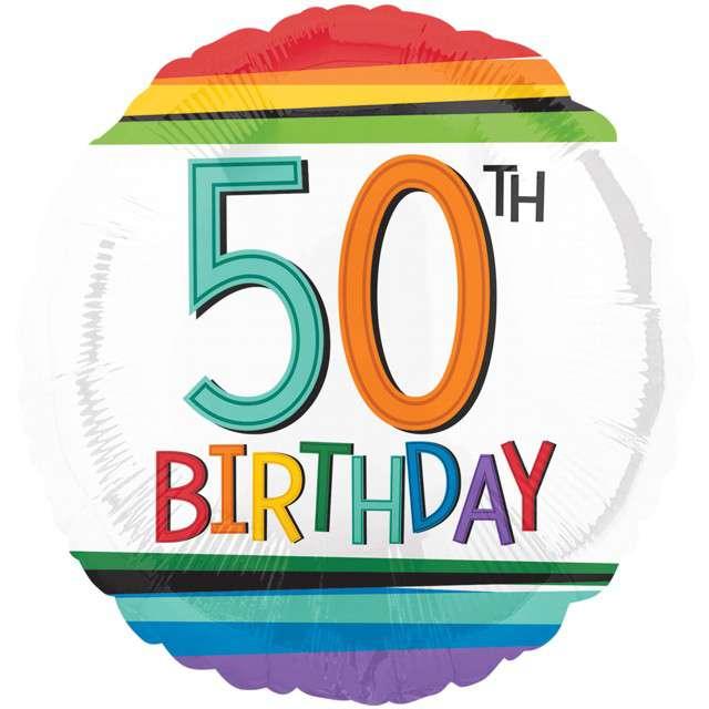 Balon foliowy 50 Urodziny - 50th Birthday AMSCAN 17 RND