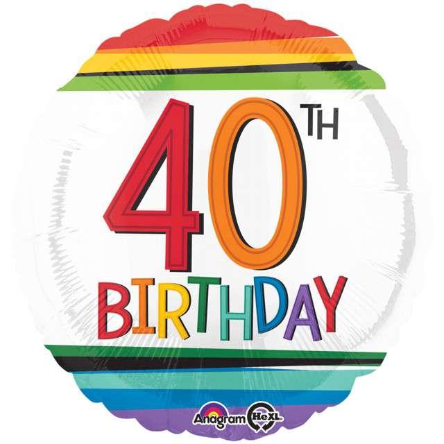 """Balon foliowy """"40 Urodziny - 40th Birthday"""", AMSCAN, 17"""" RND"""