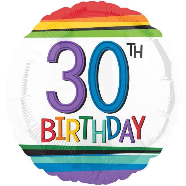 Balon foliowy 30 Urodziny - 30th Birthday AMSCAN 17 RND