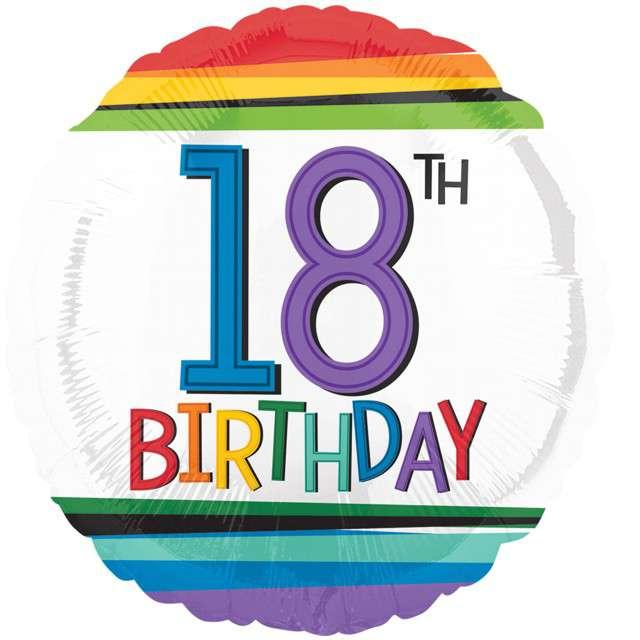 Balon foliowy 18 Urodziny - 18th Birthday AMSCAN 17 RND