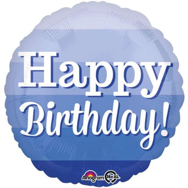 """Balon foliowy """"Ombre Happy Birthday"""", AMSCAN, 17"""" RND"""