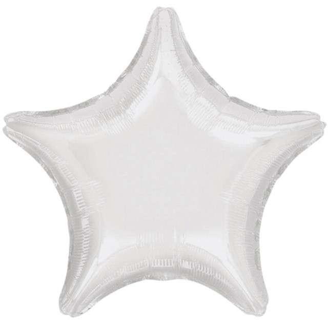 """Balon foliowy """"Gwiazda"""", biały metalik, AMSCAN, 19"""" STR"""