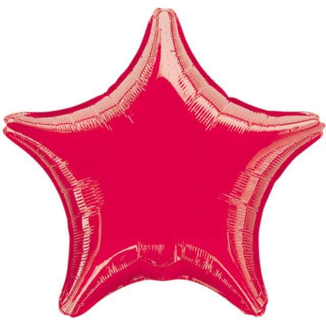 """Balon foliowy """"Gwiazda"""", czerwony metalik, AMSCAN, 19"""" STR"""