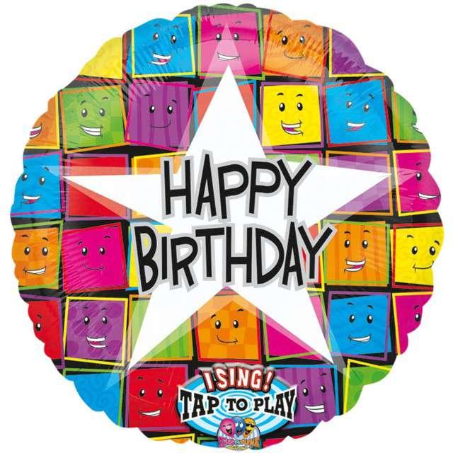 "Balon foliowy ""Happy Birthday"", grający, AMSCAN, 28"" RND"