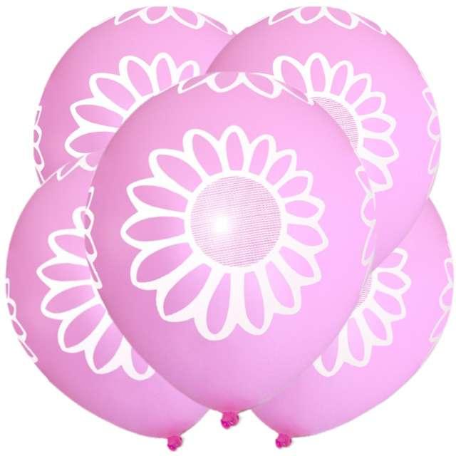 """Balony """"Stokrotka"""", 12"""", różowe, 5 szt"""