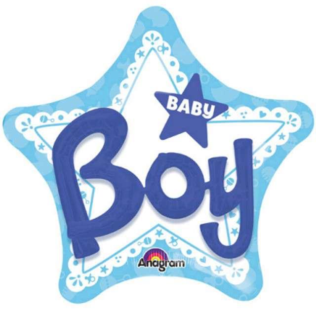 """Balon foliowy """"Baby Boy"""", niebieski, AMSCAN, 32"""" STR"""