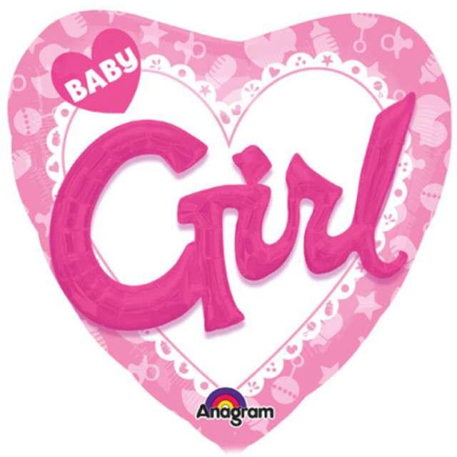 "Balon foliowy ""Baby Girl"", różowy, AMSCAN, 32"" HRT"