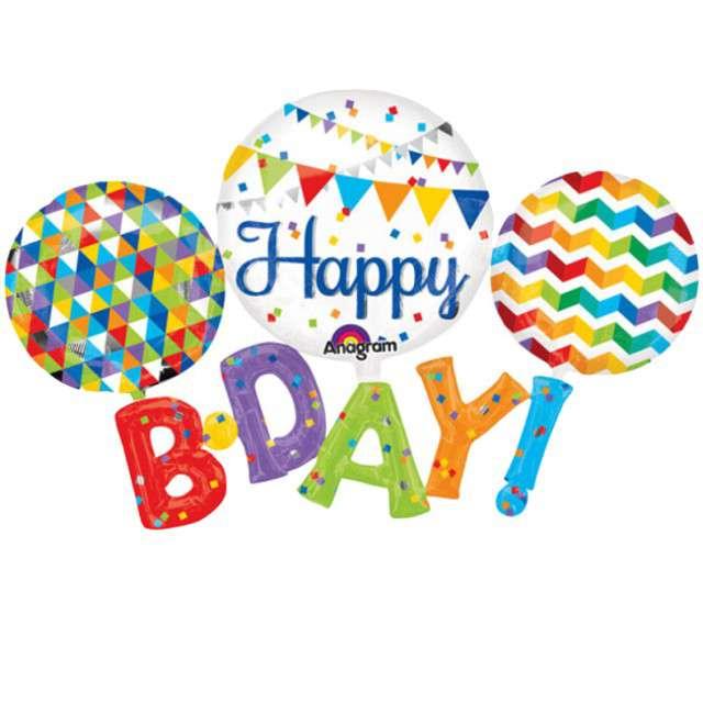 """Balon foliowy """"Happy BDAY"""", AMSCAN, 56"""" SHP"""