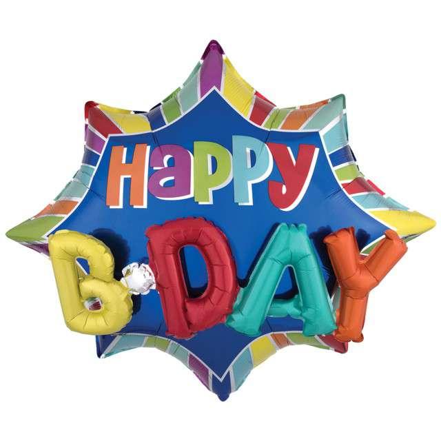 """Balon foliowy """"Happy BDAY"""", AMSCAN, 35"""" STR"""