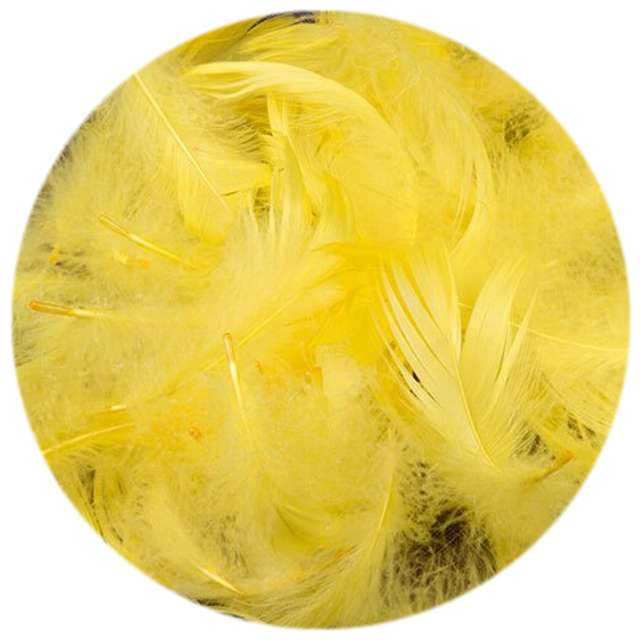 Piórka dekoracyjne, żółte, woreczek