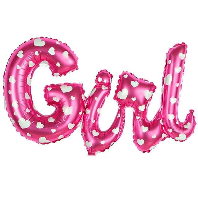 """Balon foliowy """"GIRL"""", różowy w serduszka, OEM, 35"""""""