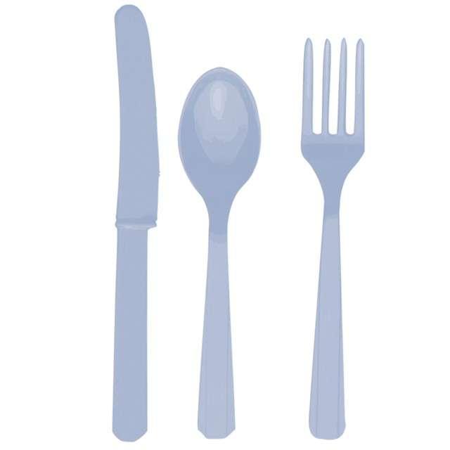 Sztućce plastikowe, zestaw, AMSCAN, niebieskie pastelowe, 24 szt