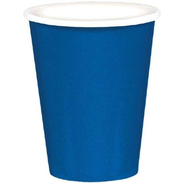 """Kubeczki papierowe """"Premium"""", AMSCAN, niebieski, 266 ml, 8 szt"""