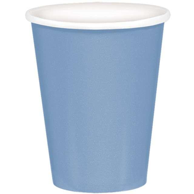 """Kubeczki papierowe """"Premium"""", AMSCAN, niebieski pastelowy, 266 ml, 8 szt"""