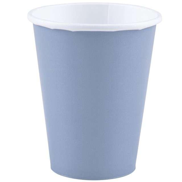 """Kubeczki papierowe """"Premium"""", AMSCAN, niebieski pastelowy, 266 ml, 20 szt"""