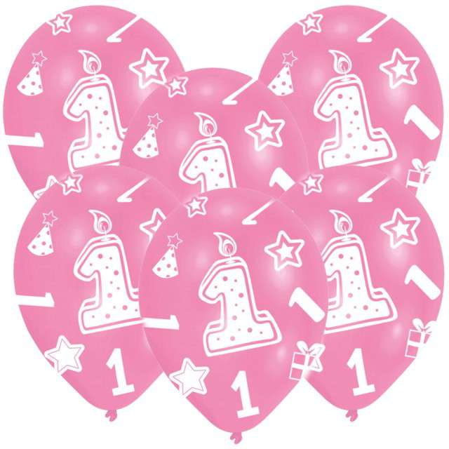 """Balony """"1 Urodziny"""", różowe, 11"""", AMSCAN,   6 szt"""