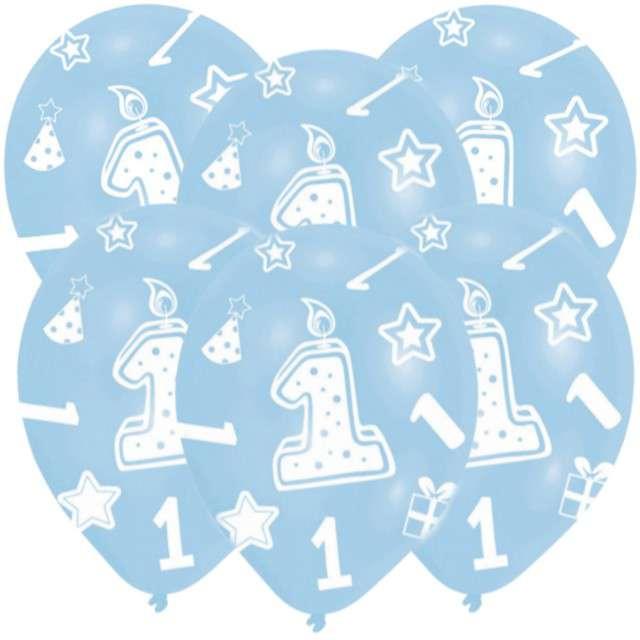 """Balony """"1 Urodziny"""", błękitne, 11"""", AMSCAN,   6 szt"""