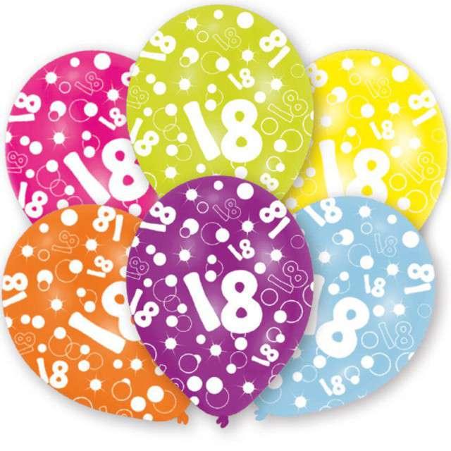 """Balony """"18 Urodziny"""", pastel mix, 11"""", AMSCAN,   6 szt"""