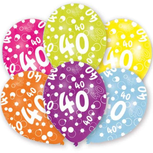 """Balony """"40 Urodziny"""", pastel mix, 11"""", AMSCAN,   6 szt"""