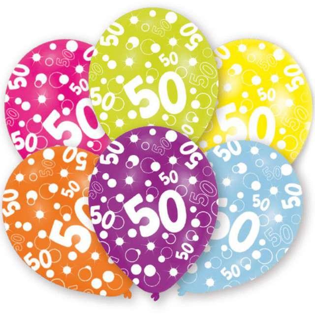 """Balony """"50 Urodziny"""", pastel mix, 11"""", AMSCAN,   6 szt"""
