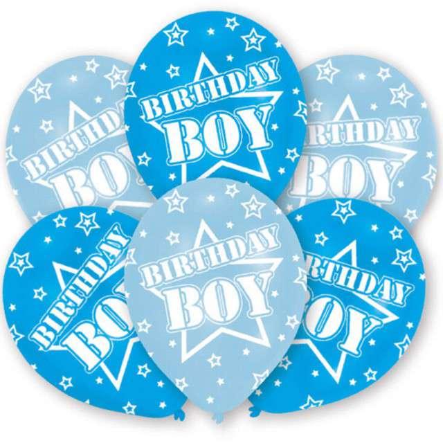 """Balony """"Birthday Boy"""", błękitne, 11"""", AMSCAN,   6 szt"""