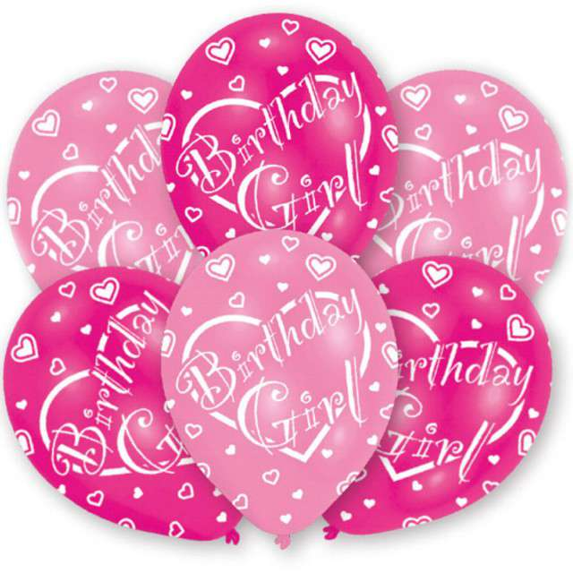 "Balony ""Birthday Girl"", różowe, 11"", AMSCAN,   6 szt"