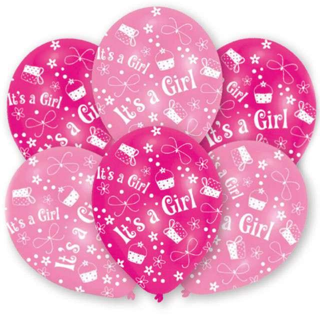 """Balony """"Its a Girl"""", różowe, 11"""", AMSCAN,   6 szt"""