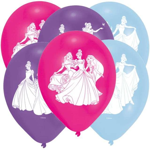 """Balony """"Księżniczki Disneya"""", pastel mix, AMSCAN, 9"""", 6 szt"""