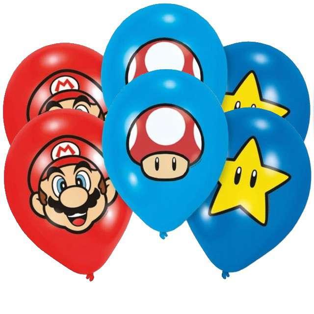 "Balony ""Super Mario Bros"", pastel mix, AMSCAN, 11"", 6 szt"