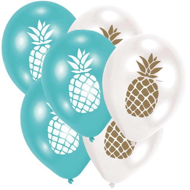 "Balony ""Ananasy Hawajskie"", pastel mix, AMSCAN, 11"", 6 szt"