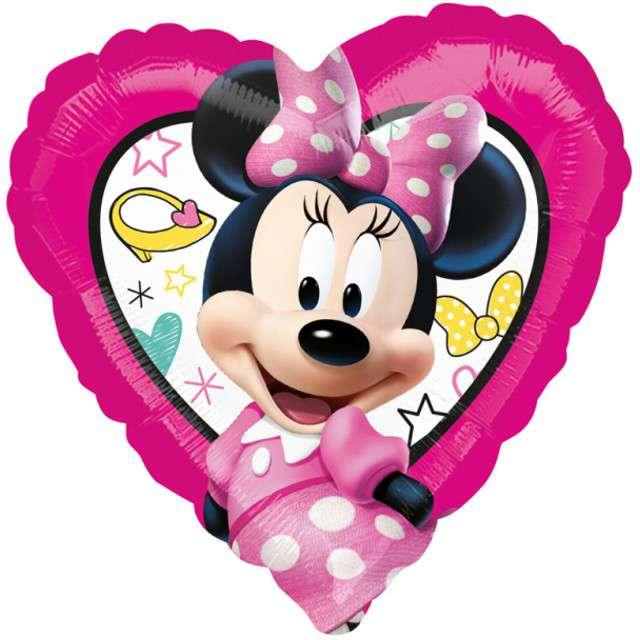"""Balon foliowy """"Myszka Minnie"""", różowe, AMSCAN, 9"""" HRT"""
