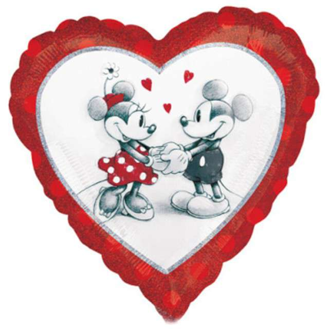 """Balon foliowy """"Myszka Minnie i Mickey"""", czerwone, AMSCAN, 17"""" HRT"""