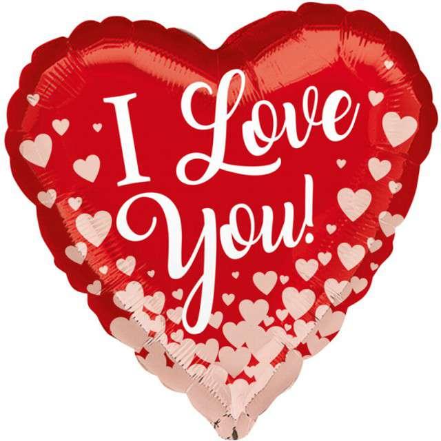 "Balon foliowy ""I LOVE YOU serduszka różowe"", AMSCAN, 17"" HRT"